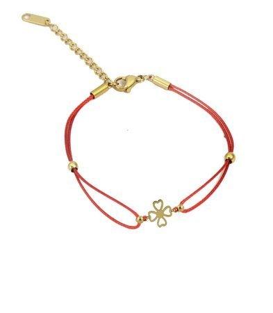 Koniczynka rozetka czerwona bransoletka