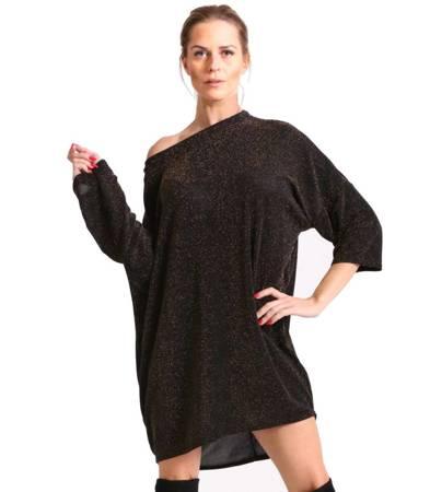 Połyskująca tunika sukienka mini oversize